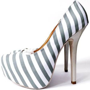 Charlotte Russe High Heels Striped White